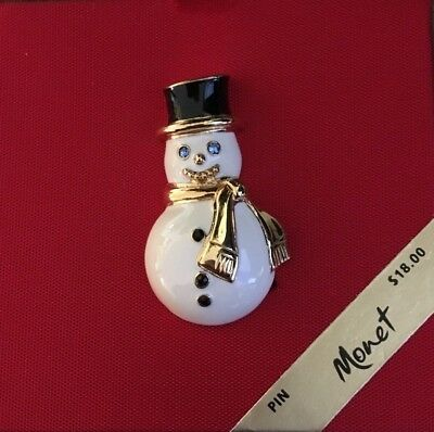 Vintage Monet Gold Tone Enamel Snowman Brooch Or  Pin