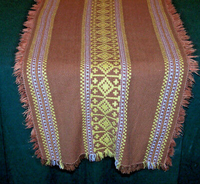 Unusual Jaquard Embroidered Table Runner, Brown, Yellow, Slovakian Folk Art 1960