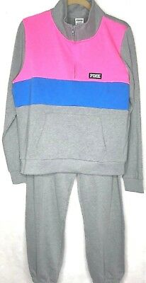 8a9fb862fe878 VICTORIA SECRET PINK Perfect Quarter Zip Pullover Gray/Pink and pant set  Large