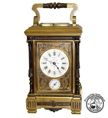 19c French Repeater Carriage Clock Batardon Paris 1883 Bronze Enamel France