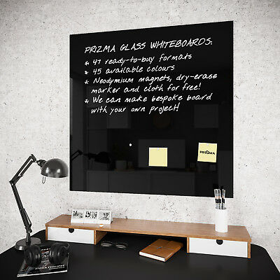 Glass Magnetic Whiteboard Notice Memo Drawing Board BLACK with Free Accessories