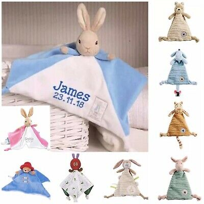 Personalised Embroidered Character Baby Comforter Security Blanket Gift Newborn