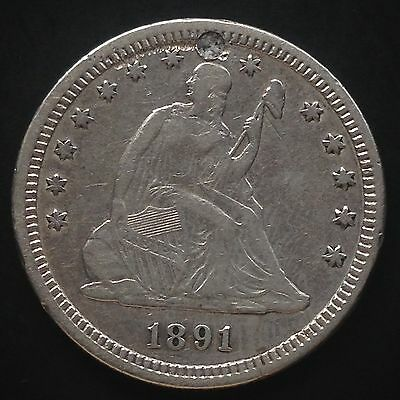 USA 1891 Seated Liberty Quarter Dollar 25 Cent Silber XF Details holed 3858