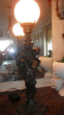 VINTAGE VICTORIAN 'REBECCA AT THE WELL' TABLE BANQUET LAMP  Lady Figural
