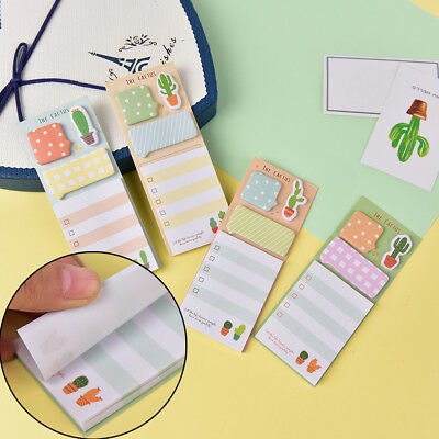 Cactus Kawaii Memo Pad StickyNotes Cute Office Supply Bookmark Paper Sticker KWC