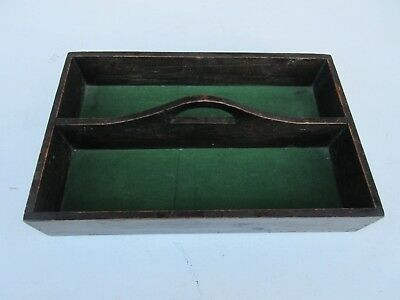 Vintage wooden cutlery tray open box caddy garden trug seed packet caddy