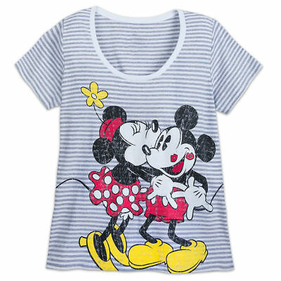bd2554986a Disney Mickey and Minnie Mouse Striped T-Shirt for Women -XL Extended Size  NWT