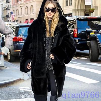 hot European womens hooded faux fur long parka coat winter Jacket outwear Thick