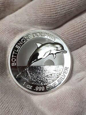 SOLD OUT!* 2019 Australia Bottlenose Dolphin 1 oz .999 Silver Proof Like BU Coin