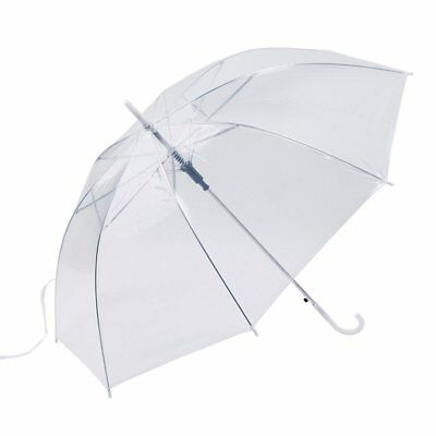 Large Clear See Through Handle Transparent Brolly Dome Umbrella Walking Ladies