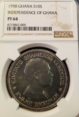 1958 Ghana Silver 10 Shillings Independence Of Ghana Ngc Pf 64 Scarce Coin !!!