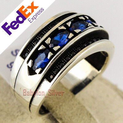 925 Sterling Silver Sapphire Stone Turkish Handmade Men's Ring All Sizes