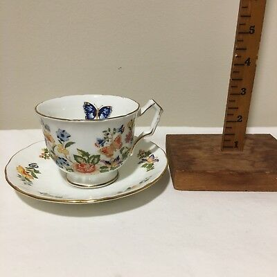 Vintage Tea Cup And Saucer Pprcelain Aynsley Bone China Made In England