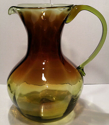 "Vintage Hand Blown Two Tone 10"" Art Glass Pitcher Green Brown"