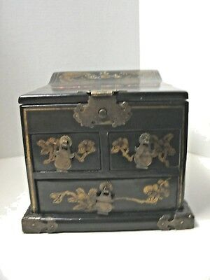Vintage Unique Large Black with Metal Accents Mirror Center Jewelry Box /3 Drawe