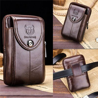Men's 100% Genuine Leather Cell Phone Case Pouch Belt Purse Fanny Pack Waist Bag