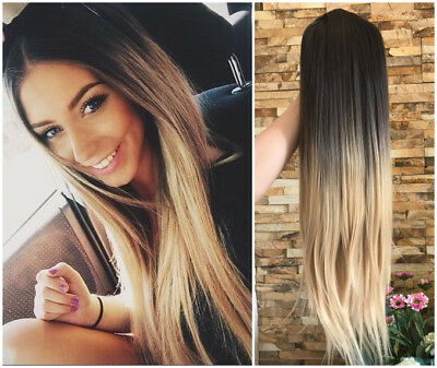 Half Head Long Straight Wavy Curly Ombre Clip in Wig Loose Curl Brown Blonde