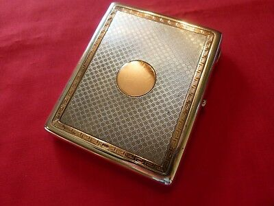 Lovely Large 1919 Solid Silver & Double Gold Banded Cigarette,credit Card Case.