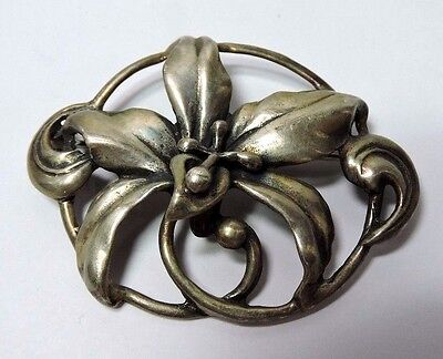 Antique Vintage Exquisite Sterling Silver Large LILY Pin Brooch See Below #KK390