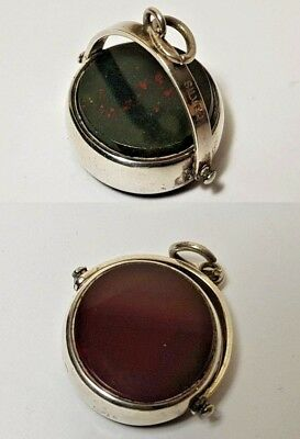 Antique Victorian Sterling Silver Spinning Swivel Watch Fob Bloodstone Carnelian