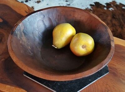 Vintage Indian Rustic Wooden Fruit Bowl Aged Distressed Boho Chic Farmhouse