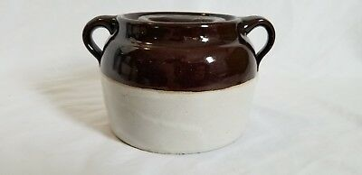 Vintage Stoneware 2 Tone Honey Pot with Lid, Brown & Tan, Old Collectible Piece