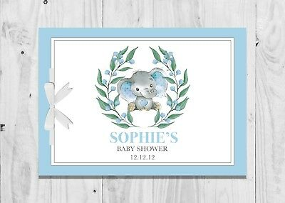 PERSONALISED Baby Shower Guest Book, Keep Sake, Game, Blue, Elephant, Baby Boy 2