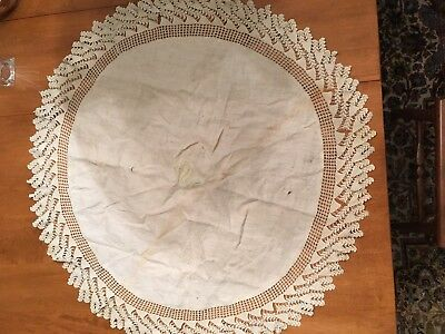 Antique Round Tablecloth with Crochet Edge - Cream - 34 inches - 90 years old