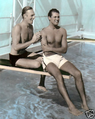 """RANDOLPH SCOTT & CARY GRANT HOLLYWOOD ACTORS 8x10"""" HAND COLOR TINTED PHOTOGRAPH"""