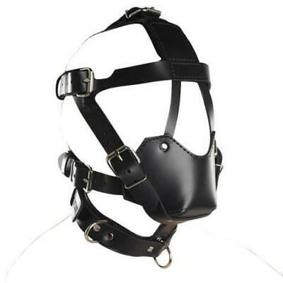 Synthetic Leather Hood Harness Mask ABS Mouth Gag Bondage Neck Collar UA1195
