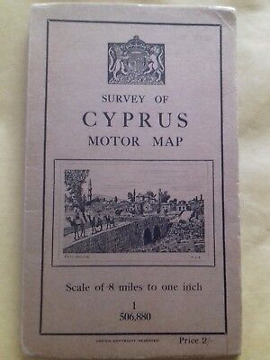 Survey Of Cyprus  Motor  Map Second Edition 1932.