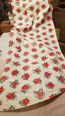 """Vintage Poinsettia Table Cloth Oval 68"""" by 52"""""""