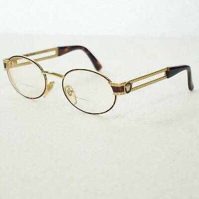 eaec7595c3b4 GIANNI VERSACE MOD S68 COL 55M Gold Brown Vintage Eyeglasses Frame Only  CASE TOO -  268.99
