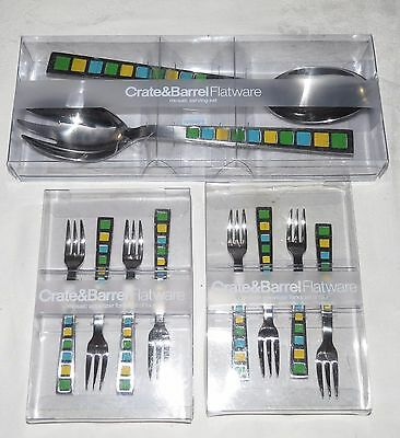 Crate & Barrel Flatware Mosaic 10 pcs. Serving Set + Eight Appetizer Forks NEW