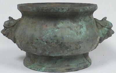 OLD Chinese? Archaic Form Large Vessel w/Mask Handles in Bronze? Brass? Copper?