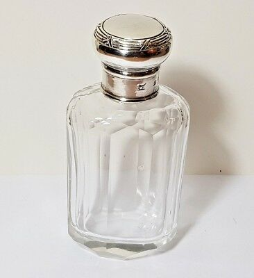 Antique Panel Cut Crystal & Silver Travel Perfume Cologne Bottle Neal Bros 1908