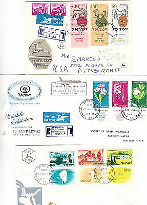 Israel 3 Covers, FDC, 2 Registered, 1957-61, Lot 784