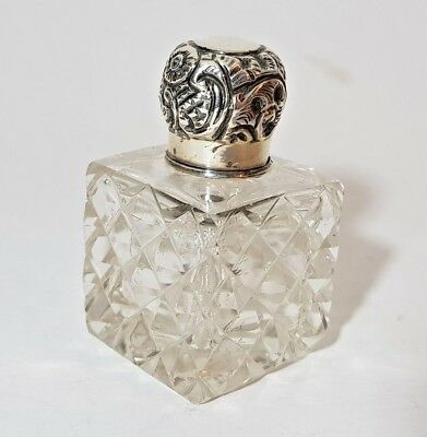 Small Antique Cut Crystal & Silver Perfume Scent Salts Bottle London 1907
