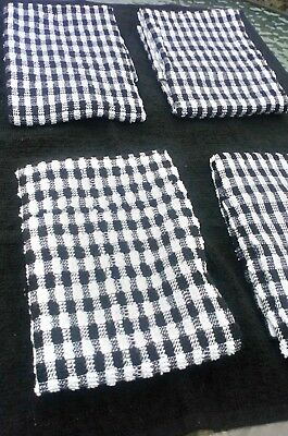 4 x Large Thick Terry Tea towels Absorbent 100% cotton cloth dish  BLACK WHITE