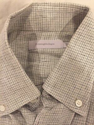 6aa81b74 ERMENEGILDO ZEGNA 100% Linen Sport Shirt Mens L Blue/Green Plaid ...