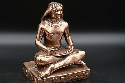 Statue of a writer Egyptian Hand Carved Solid Stone plated Copper