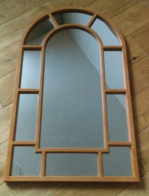 Large Vintage Arched Window Style Teak Effect Wall Mirror 1970's Boho Retro