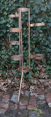"Vintage Mid Century Hand Made Wrought Old Iron Plant Stand - 38"" High"
