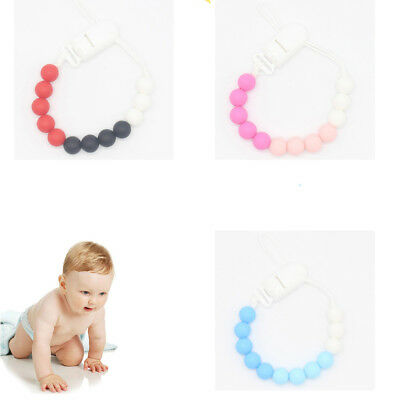 1Pc Silicone Beads Infant Pacifier Clip Chain Holder Dummy Soother Baby Supplies