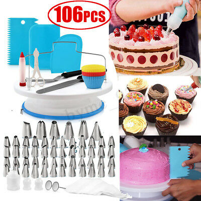 106Pcs 28cm Cake Turntable Rotating Decorating Flower Icing Piping Nozzles Set