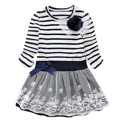 Kids Baby Girls Bowknot Lace Tutu Dress Casual Party Prom Pageant Princess Dress