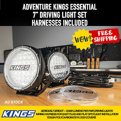 "Adventure Kings 7"" Driving Light Pair + Wiring Harness"
