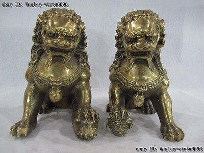 Chinese Palace Brass Copper Feng Shui Evil Guardian Fu Foo Dog Lion Pair Statue