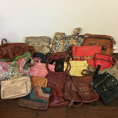 Bundle 18 Handbags Vera Bradley, Fossil, The Sak, Lucky Brand, Travelon (T2)
