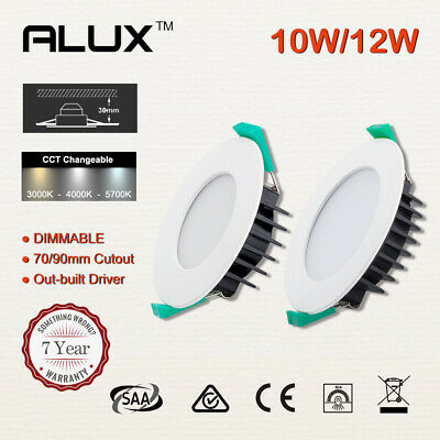 Led Downlight Kit CCT White Dimmable 10W/12W 70/90mm Cutout Flat/Concave Face